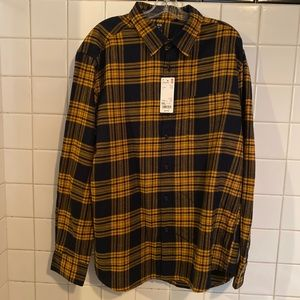 FLANNEL CHECKERED YELLOW AND BLACK SHIRT SZ XXL